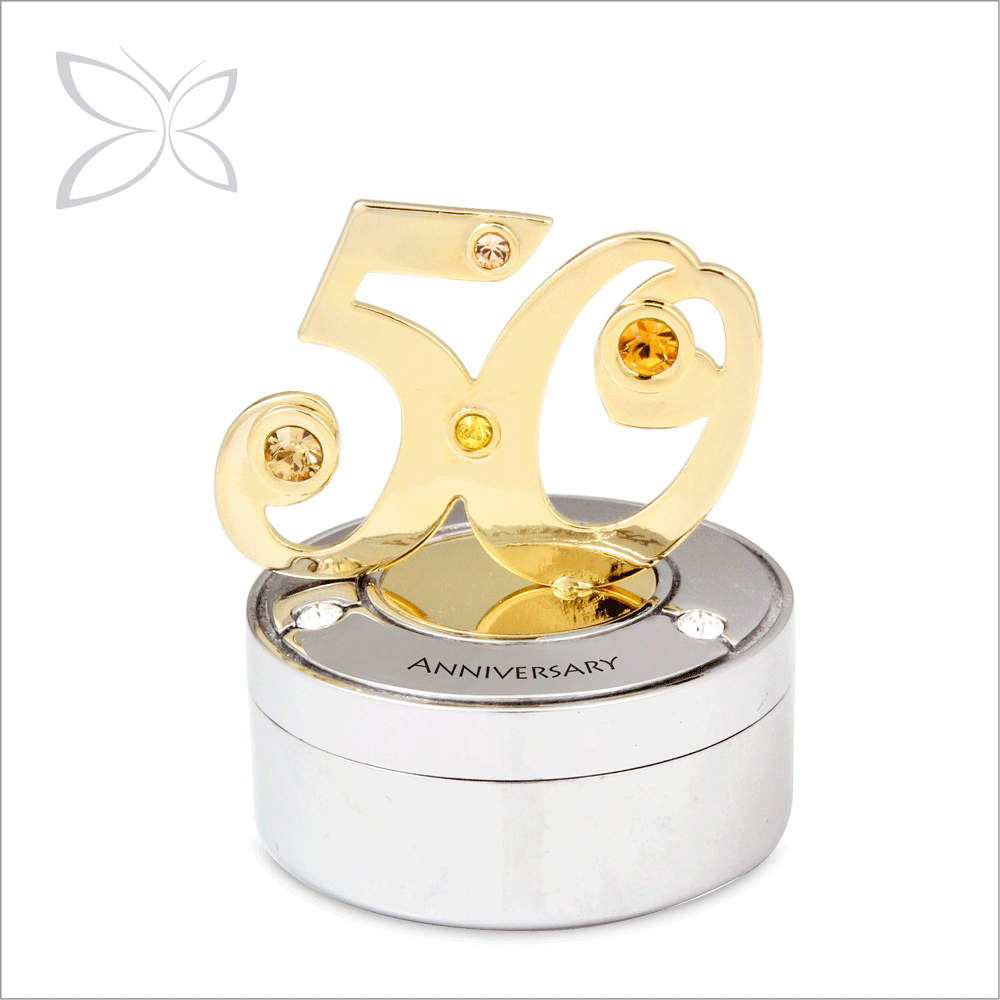 Wholesale Fancy Gold Plated Metal Anniversary Keepsake Box