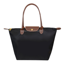 Black foldable zipper folding nylon tote bag