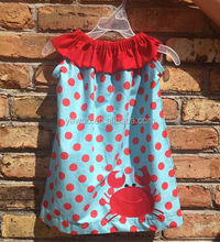 summer new style party dress 2014 kids girls sleeveless evening dress fancy baby dress with polka dots