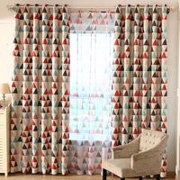 Blackout geometric triangle 8 eyelets window curtains