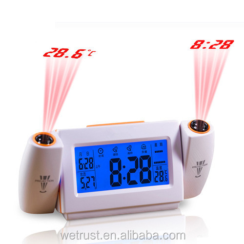 Sound Controlled LED Back Light Dual Projector Touch Alarm Clock