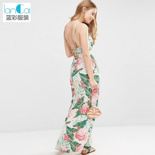 Petite printed tie back A-line maxi dress ladies 2017 summer new fashion sleeveless backless halter long dress