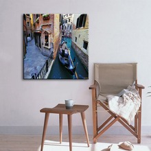 House boat and river serene city sample picture of decoration canvas painting