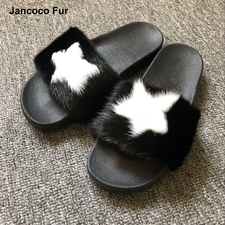 Wholesale Soft Black With White Star Real Mink Fur Slippers Pvc Fur <strong>Slides</strong> For Fashion Women