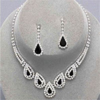 Fasion Wedding Party Bridal Black Diamante Crystal Necklace Earrings Set Jewelry