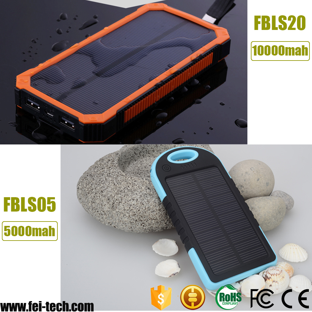 10000mah waterproof solar power bank with CE ROHS FCC certifications