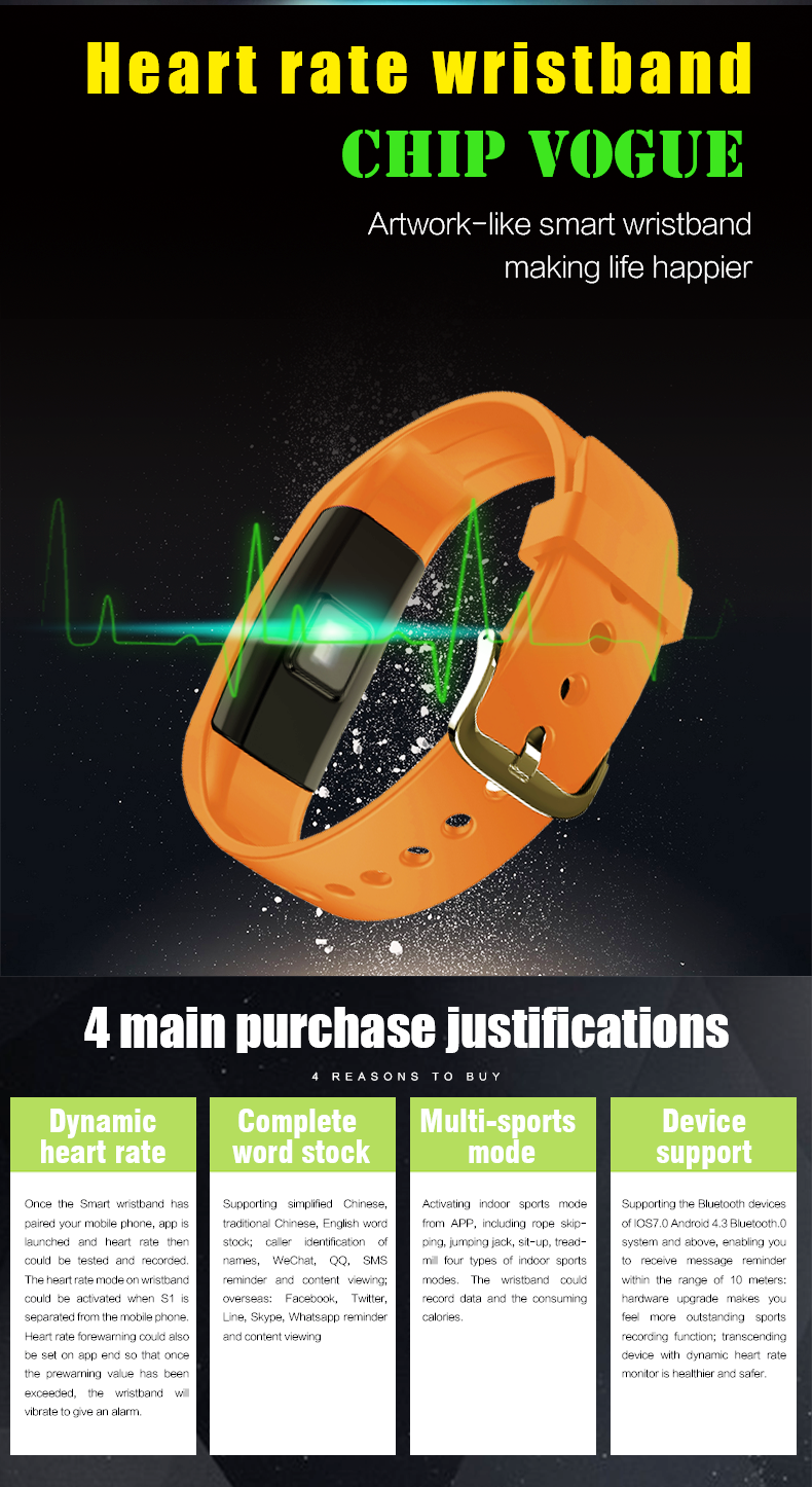 2017 New IP67 Waterproof Heart Rate Monitor Smart Bracelet S1 Smart Wristband