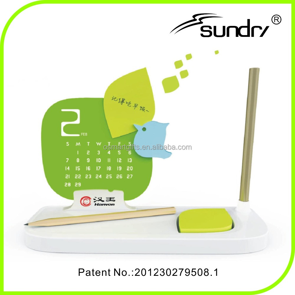 2016 design plastic Pen case calendar, plastic cover for desk calendar