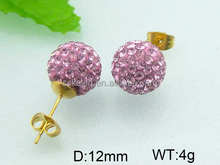 2014 the most popular have pink stone earring cheap pearl earrings