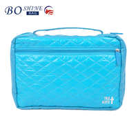 Portable Quielted Leather Waterproof Travel Case Organizer Makeup Bag With Front Pocket And Handle For Ladies