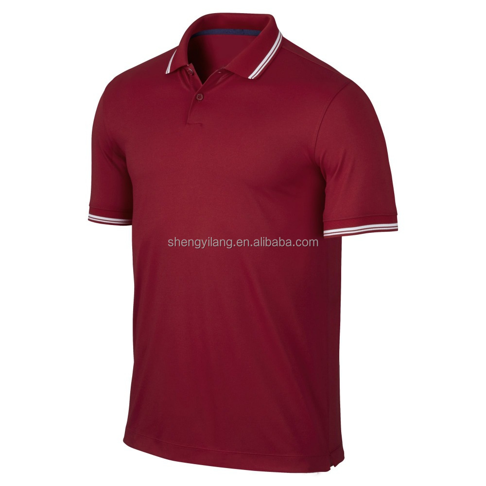 two-button placke knitted pique gym sports series maroon polo shirt