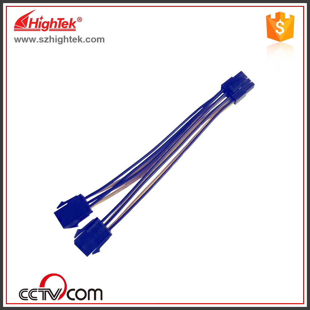 100pcs PCI-E PCIe PCI Express double 6Pin male to 8pin female Adapter GPU Video Card Power Cable 18AWG 15cm