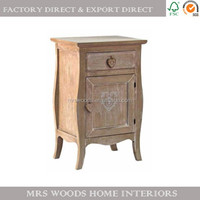 antique shabby chic country style wood bedside table unfinished french furniture