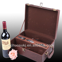 Hot sale 2 Bottles Leather Wine Carrier special design box wine,wooden wine box