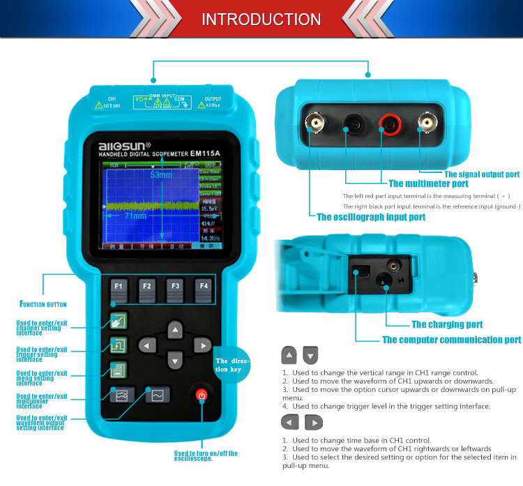 all-sun Handheld Oscillograph 3 in 1 Multifunction Oscilloscope 50MHZ Color Screen Scopemeter Single Channel Hot Sale EM115A