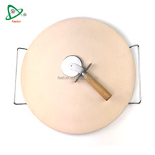 15'' pizza baking stone grill plate set with pizza cutter