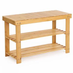 2-tiers Solid Bamboo Wooden Entryway Bench Storage Shoe Rack