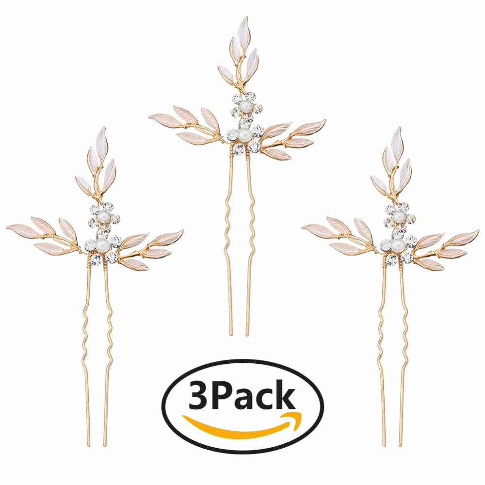 Wedding Hair Pin with Leaves Rhinestone Bridal Hairpins for Weddings Gold Hair Jewelry