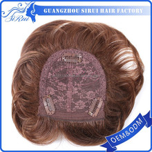 Clip in synthetic hair toupee skin injection mens hairpiece, lace top closure hairpiece, silk top hairpiece