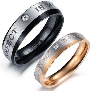 Titanium Stainless Steel CZ Promise Ring Couple Wedding Band Set