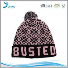 Wholesale Mens kids custom beanie leather patch pom pom beanie hats black plain knitted winter beanie