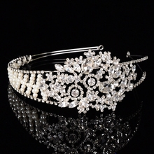 Queena Bridal Jewelry Gradient Low-key Luxury Pearl Crystal Bride Headdress