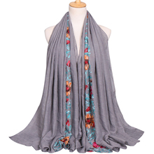 Wholesale china fashion polyester cotton blends hijab scarf hand embroidery african big muslim scarf design