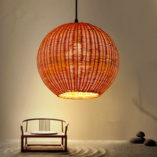 classic design led rattan ball chandeliers ceiling vintage light pendant dining light
