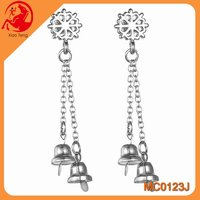 2015 hot selling Drop Earrings High quality Long Chain Tassel Christmas Snow Bell Earing