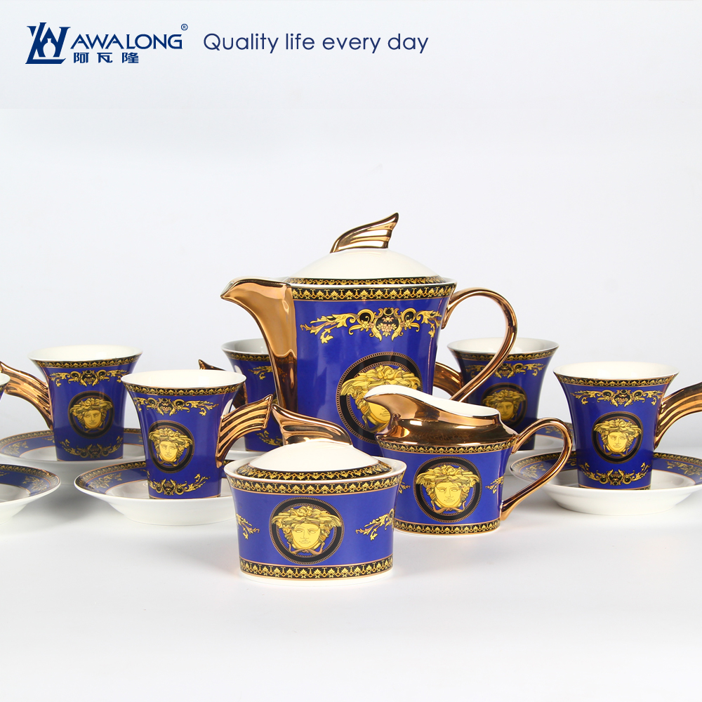 Blue Pattern Western Style Royal Unique Design Special Porcelain Coffee Set / Bone ChinaArabic Coffee And Tea Sets