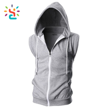 Wholesale gym stringer singlet Mens Active Comfortable Slim Fit Hoodie Tank Top For Work Out custom label sweatshirt