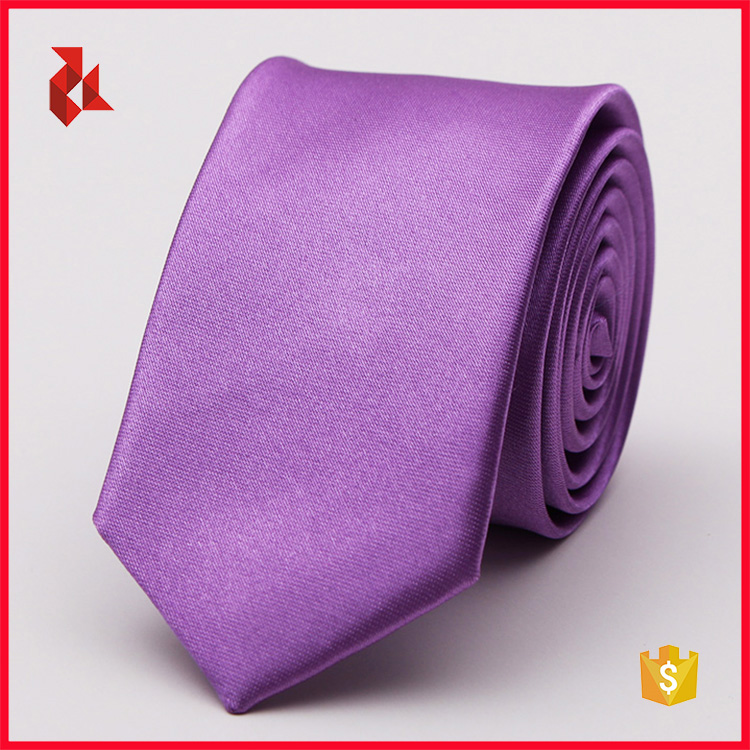 Cheap Men's Polyester Purple Plain Tie