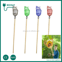 metal garden tools fruit easy picking net with telescopic handle fruit picker