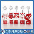red owl fox bird animal cute desk Wooden Christmas namecard holder with block