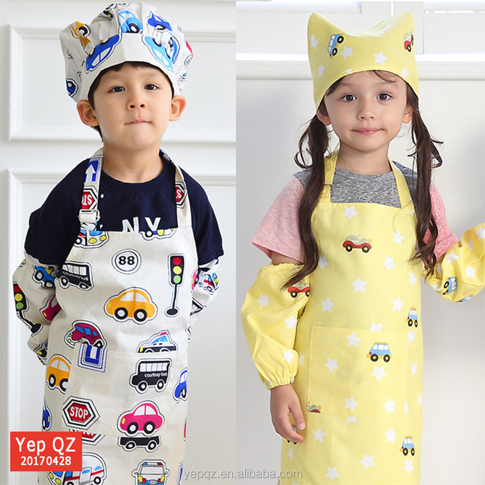 Whoesale 2017 Summer Hot Sale Child Drawing Apron Set Soft Cotton Kids Apron