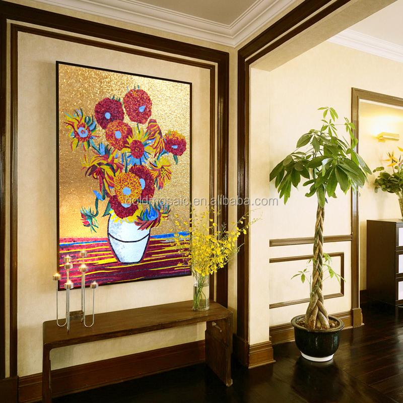 Van gogh peinture l 39 huile soleil fleur photo art coupe mosa que de verre la main peintures - Peinture a l huile van gogh ...