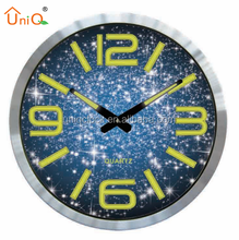 Quartz aluminium luminous wall clock with silent sweep movement