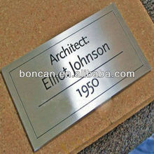 high quality Metal stainless steel engraved sign plate