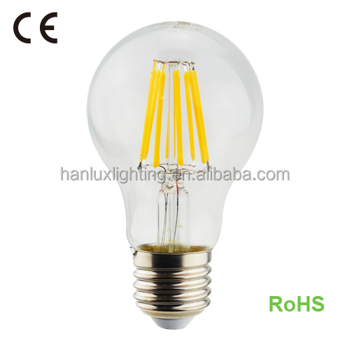 cheap price 8W 840LM Filament ningbo bulb E27 base A60 with CE ROHS report