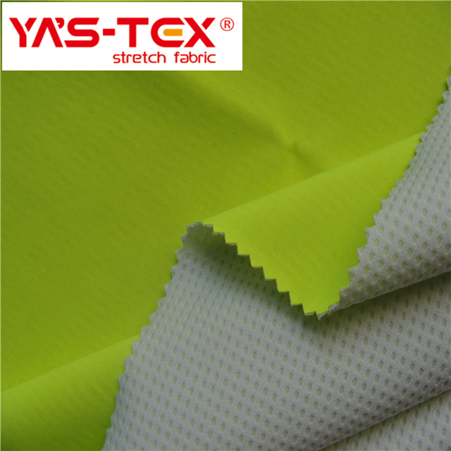 polyester spandex 4 way stretch fabric bonded with mesh fabric for sports wear fabric