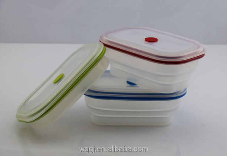 Portable Silicone Bento Silicone Collapsible Food Storage Container with Plastic Lid Lunch Box