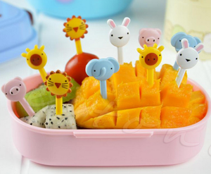 10Pcs Mini Animal Farm Cartoon Fork Fruit Pick Sign Bento Lunches Party Decor