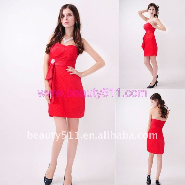 Astergarden Real Photo Strapless Knee length Sashed Red Bridesmaid dress AS144