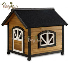 House Run Flat Wooden Dog Kennel With Slant Roof