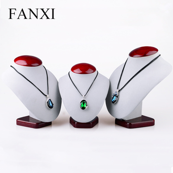 FANXI Custom Jewellery Necklace Stand Exhibitor Trade Show Red Paint Wooden Jewelry Display Busts