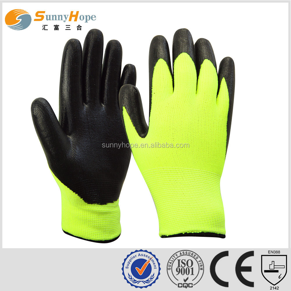 sunny hope good quality nappy 3/4 coated cheap nitrile winter smooth coated glove