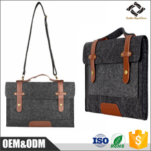 Custom dark grey pu leather bottom shoulder messenger bag felt laptop bag for MacBook 11.6'' / 13.3'' 15.4'' inch tablet sleeve
