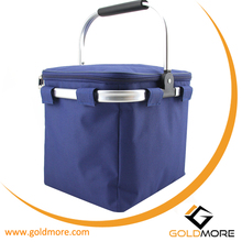 outdroor camping cooler tote bag with aluminium frame cooler insulated lunch basket