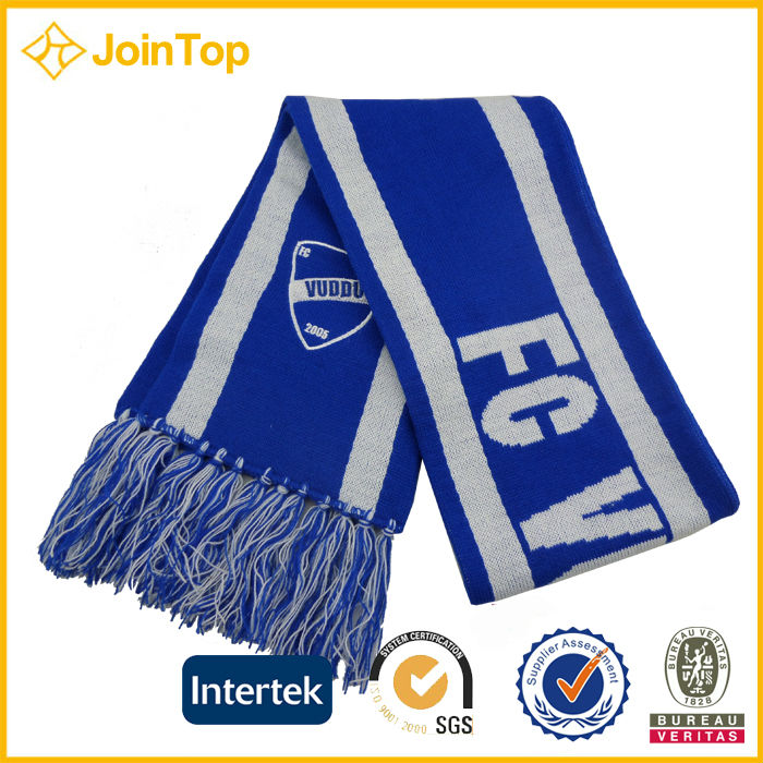 double layer custom knitted fooball scarf