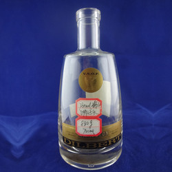 Fat round empty clear spirits 700ml glass bottle with cork wholesale